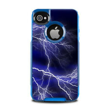 Skin for Otterbox Commuter iPhone 4 - Apocalypse Blue Lightning - Sticker Decal
