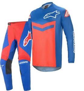 2021 Alpinestars FLUID SPEED Blue Bright Red Motocross MX Race Kit Gear Adults