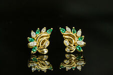 14K Yellow Gold Chatham Emerald and Diamond Cluster Earrings