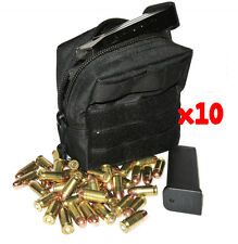 (10) 9MM AMMO MODULAR MOLLE UTILITY POUCHES FRONT HOOK LOOP STRAP