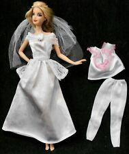 4Pc Barbie Princess Wht Wedding Bridal Dress Gown & Veil + Pj's -Top & Pants