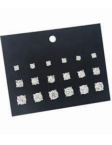 Rhinestone diamante multi pack earrings 9 pairs  studs Diamond crystal stud