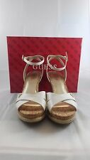 NEW IN BOX! GUESS Madolyn Women US 9.5 White Patent Leather Cork Wedge Sandal