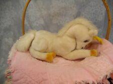 "10"" VTG Dakin White Laying Unicorn Plush Yellow Horn Hooves Fantasy 1979 Vintage"