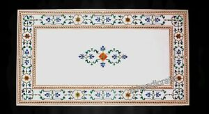 Marble Dining Table Top with Marquetry Art Restaurant table Size 36 x 72 Inches