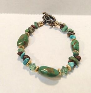 Handmade Turquoise String Bracelet and Earring Set Glass Beads Green Gold