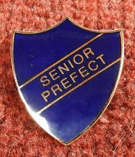 Shield Shape Old School Blue ' SENIOR PREFECT ' Enamelled Badge / Brooch - BNIB