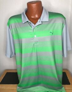 Men's PUMA GOLF S/S Polo/Golf Shirt Size Extra Large XL -- Striped -- Polyester