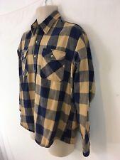 St Johns Bay Mens L Blue Buffalo Plaid Cotton Flannel Vtg USA Made Shirt