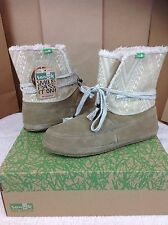 SANUK SOULSHINE CHILL TAN SUEDE LINED ANKLE BOOTS SIZE 7 WOMENS US