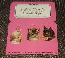Vintage 1983 Shackman Cat Gift/Ornament Tags 3 Pc