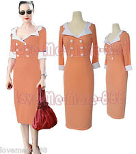 Womens Vintage Pinup Celebrity Career Wear to Work Shift Sheath Midi Dress 4XL