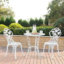 [casa.pro] Tisch + 2 Stühle Gusseisen Antik Weiß Bistro Set Garten Sitzgarnitur