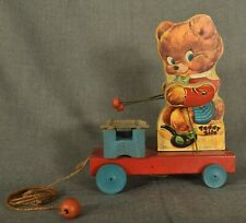 Vintage Fisher Price Mid Century Teddy Bear Zilo Pull Toy Model 777