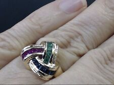 RUBY EMERALD SAPPHIRE KNOT RING REAL 14k YELLOW GOLD 5.6g SIZE 6.75 (GP2005853)