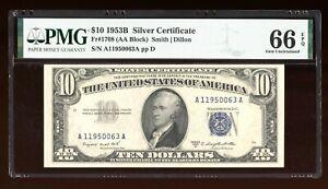 DBR 1953-B $10 Silver Gem Fr. 1708 PMG 66 EPQ Serial A11950063A