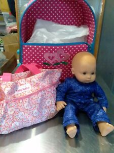 American Girl Bitty Baby Doll 2014 with pull suitcase and diaper bag