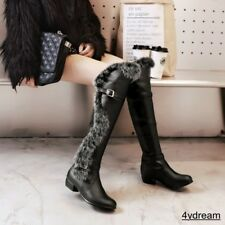Ladies furry knee high boots chunky heel round toe buckle winter shoes au size