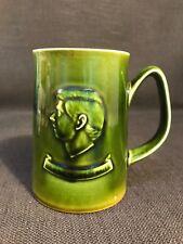 Holkham Pottery Green Glazed Mug Tankard, Prince Charles Investiture 1969