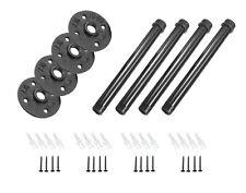 "4 Pack 8"" Industrial Black Steel Iron Straight Shelf Pipe Mounting Brackets DIY"