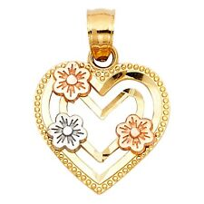 "Triple Flower 14k Tri Tone Solid Gold Heart Framed Charm Necklace 3/4""  Pendant"