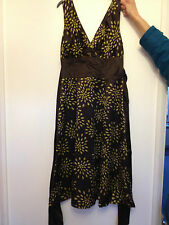 Gorgeous New Without Tags Ted Baker Brown & Gold Silk Lined Dress, Size 2 (10)