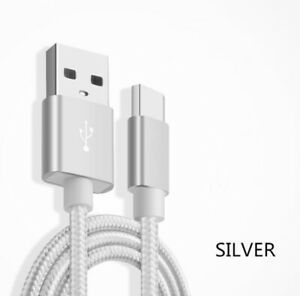 LOT OF 3 Type-C Nylon Braided Data Sync Charging Cord USB-C Fast Charger