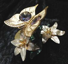 Schmetterling mit Swarowski Kristallen Bestückt  Vergoldet Gold Plattiert