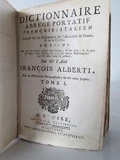 FRANCOIS ALBERTI LIBRO ANTICO TOMO 1-2 DIZIONARIO ITA-FRA EPOCA 1700