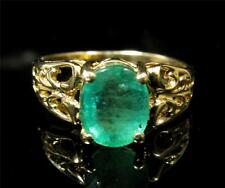 Engagement Promise 1.35CT Women Emerald Filigree Ring 10K Yellow Gold VideO
