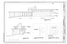 Frank Lloyd Wright architectural plans, Midcentury Modern Boulter home, PDF file