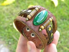 Quality bracelet  thick Buffalo Leather Agate Bones nice gift for Thanksgiving