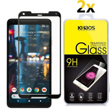 2X Khaos For Google Pixel 2 XL Full Cover Tempered Glass Screen Protector -Black
