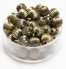 6 MM Vintage Brass Corrugated Round  Beads Pkg Of 100