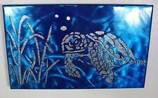 Metal Wall Art Canvas Swimming Turtle  Metallic Blue Metal Art