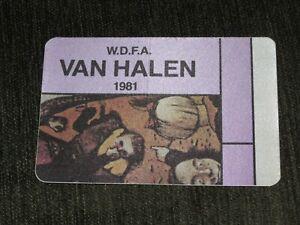 VAN HALEN 1981 FAIR WARNING BACKSTAGE PASS not signed / autographed