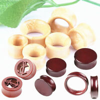2x Natural Bamboo Hollow Solid Wood Double Flared Ear Plug Tunnel Gauge Piercing