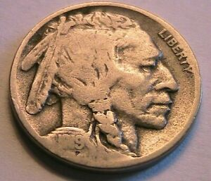 1919-D Buffalo Nickel Good+ (G+) Full Date Grey Tone Indian Head 5 Cent USA Coin