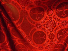 Red Renaissance Catholic Gothic Cross Acetate Brocade fabric By The Yard