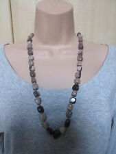 Lola Rose Brown Grey Multi Semi Precious Stones Bead Necklace & Pouch NEW /BNWT