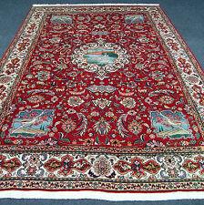 Orient Teppich Rot 345 x 247 cm Alter Perserteppich Naturmotive Old Carpet Rug