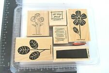 Six Piece Set Stampin Up Rubber Stamps All the Best Flower Stems Black Rectangle