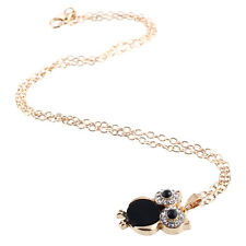 Lady Owl Pendant Chain Natural Shell Necklace Rhinestone Vintage Gift Black