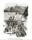 Stampa antica STRADA del BRENNERO Girovaghi animali Bozen Bolzano 1876 Old print