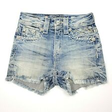 Miss Me Women's High Rise Vintage Short Shorts Denim Jeans Med Blue Size 22 $89
