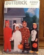 Butterick 4289 Halloween Devil Bunny Tiger Penguin sz 1-4Sewing Pattern Costume