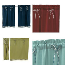 Window Door Bowknot Plaid Drapes Kitchen Simple Short Curtain Valance Home Decor