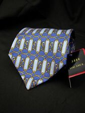 NWT Richel LUXURIOUS Boroque Gold and Blue Filligree Stained Glass Tie 60x3.5