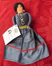HAND MADE GRAY VELVET NAVAJO DOLL - NEW COA Maureen Bill Native American Figure