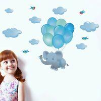 Bird Elephant Balloon Wall Sticker Cartoon Animasl Vinyl Decal Kids Room Decor